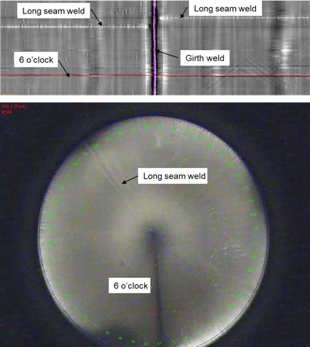 Sample MFL data and video image of a long seam weld from a pipe